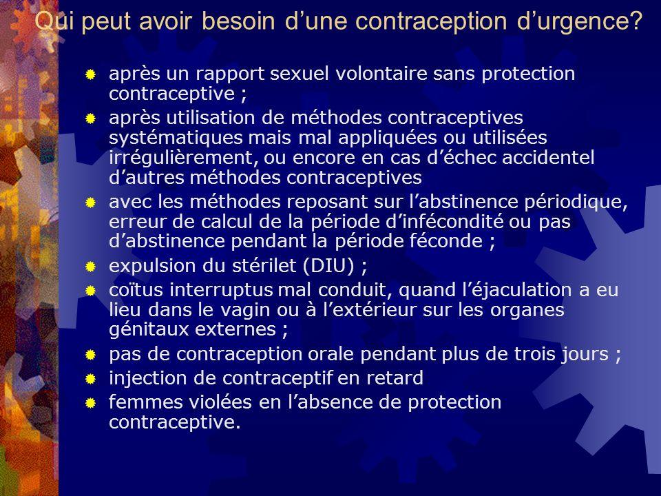 Qui peut avoir besoin dune contraception durgence? après un rapport sexuel volontaire sans protection contraceptive ; après utilisation de méthodes co
