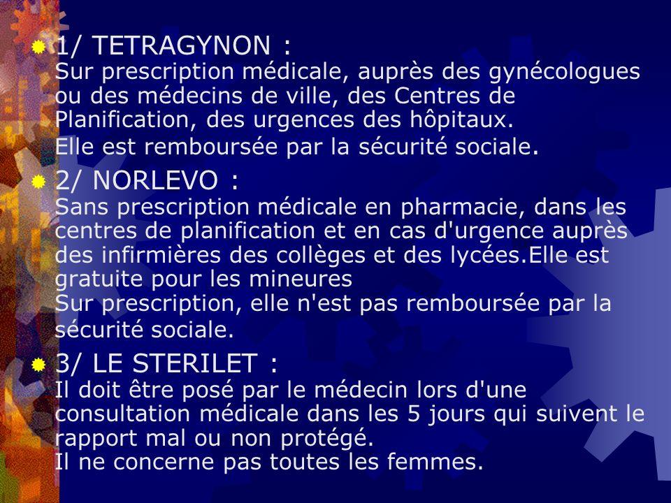 1/ TETRAGYNON : Sur prescription médicale, auprès des gynécologues ou des médecins de ville, des Centres de Planification, des urgences des hôpitaux.