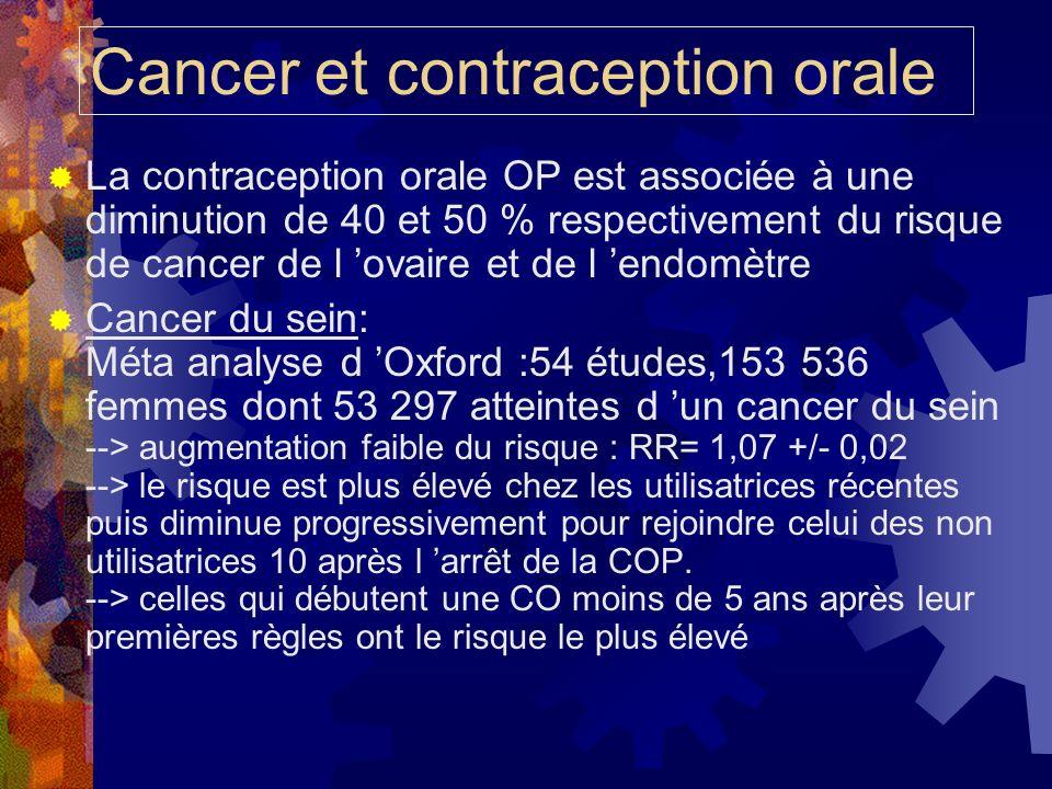 Cancer et contraception orale La contraception orale OP est associée à une diminution de 40 et 50 % respectivement du risque de cancer de l ovaire et