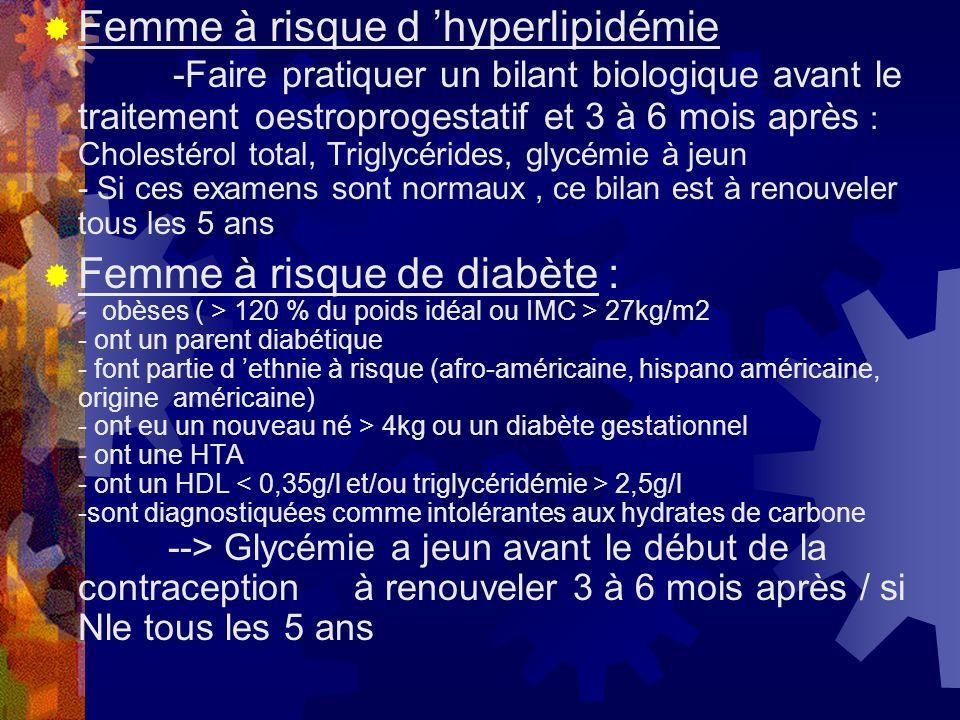 Femme à risque d hyperlipidémie -Faire pratiquer un bilant biologique avant le traitement oestroprogestatif et 3 à 6 mois après : Cholestérol total, T