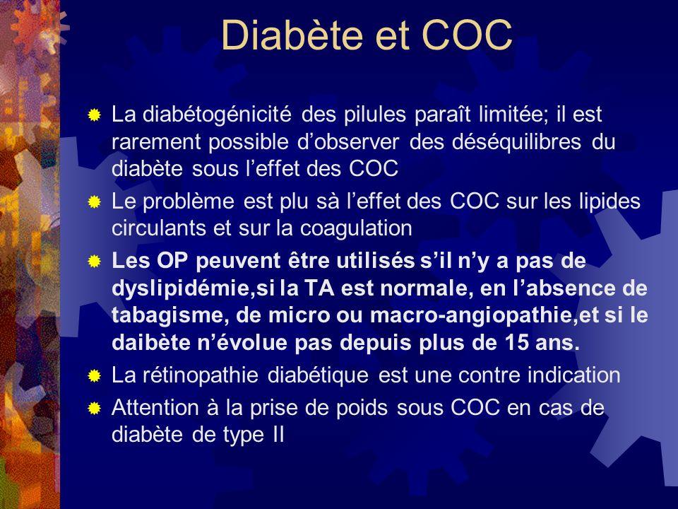 Diabète et COC La diabétogénicité des pilules paraît limitée; il est rarement possible dobserver des déséquilibres du diabète sous leffet des COC Le p
