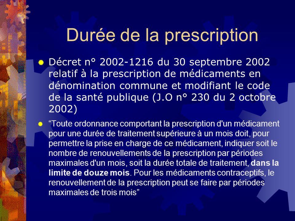 Durée de la prescription Décret n° 2002-1216 du 30 septembre 2002 relatif à la prescription de médicaments en dénomination commune et modifiant le cod