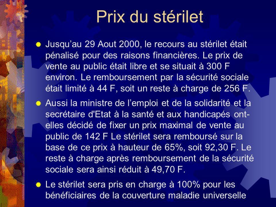 Prix du stérilet Jusquau 29 Aout 2000, le recours au stérilet était pénalisé pour des raisons financières. Le prix de vente au public était libre et s