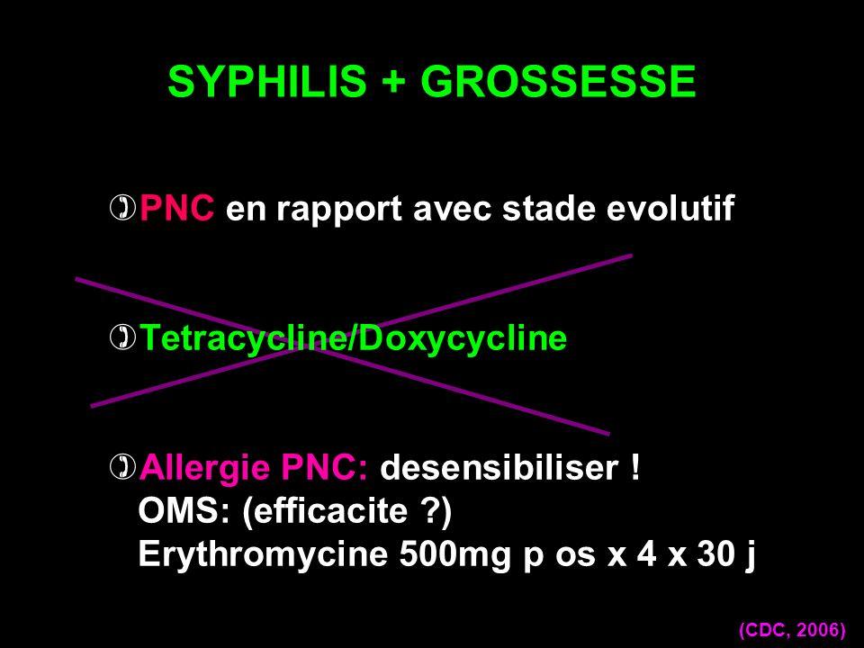 SYPHILIS + GROSSESSE (CDC, 2006) PNC en rapport avec stade evolutif Tetracycline/Doxycycline Allergie PNC: desensibiliser ! OMS: (efficacite ?) Erythr