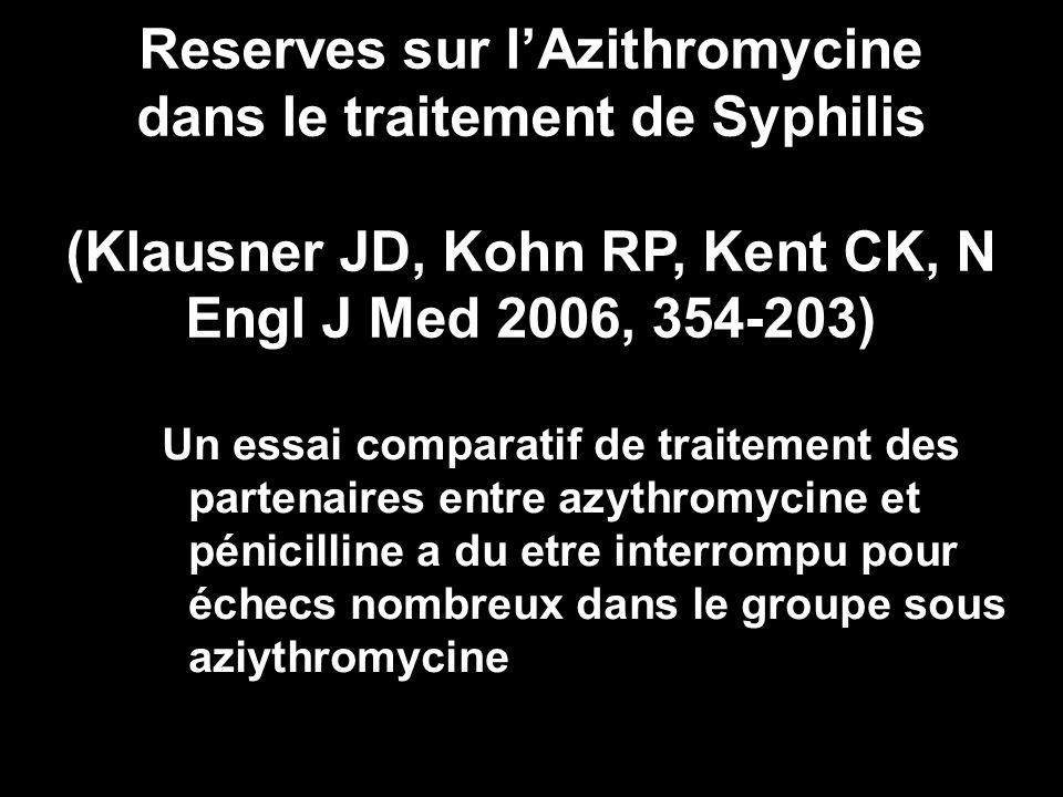 Un essai comparatif de traitement des partenaires entre azythromycine et pénicilline a du etre interrompu pour échecs nombreux dans le groupe sous azi