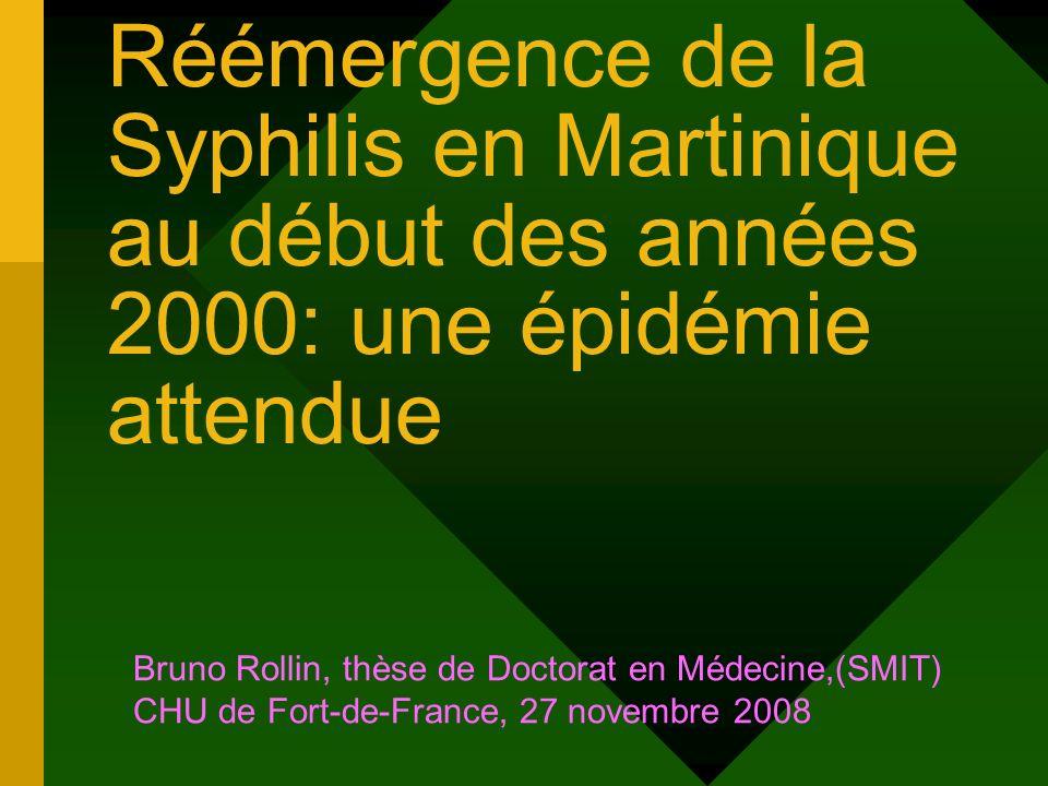Réémergence de la Syphilis en Martinique au début des années 2000: une épidémie attendue Bruno Rollin, thèse de Doctorat en Médecine,(SMIT) CHU de For