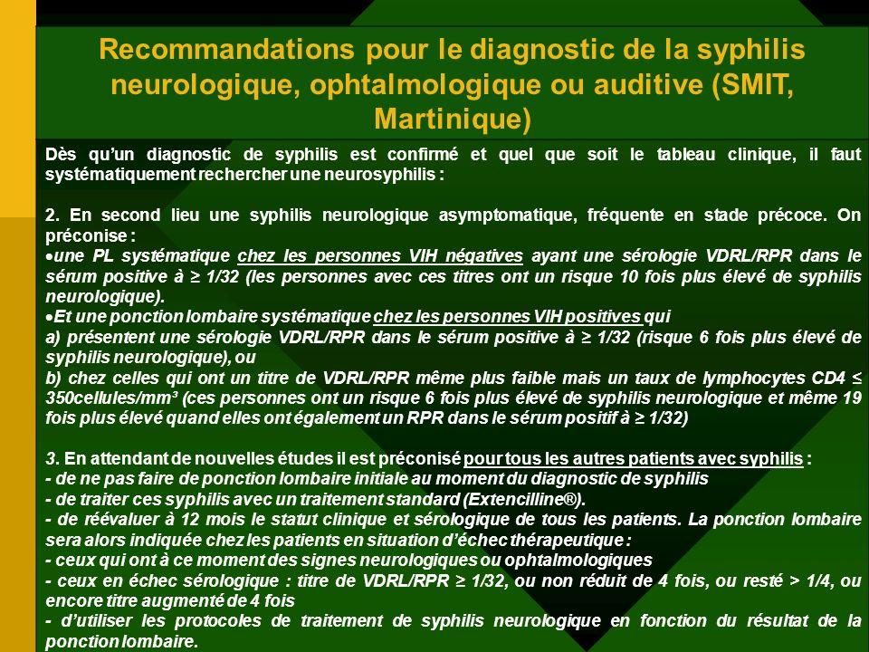 Recommandations pour le diagnostic de la syphilis neurologique, ophtalmologique ou auditive (SMIT, Martinique) Dès quun diagnostic de syphilis est con