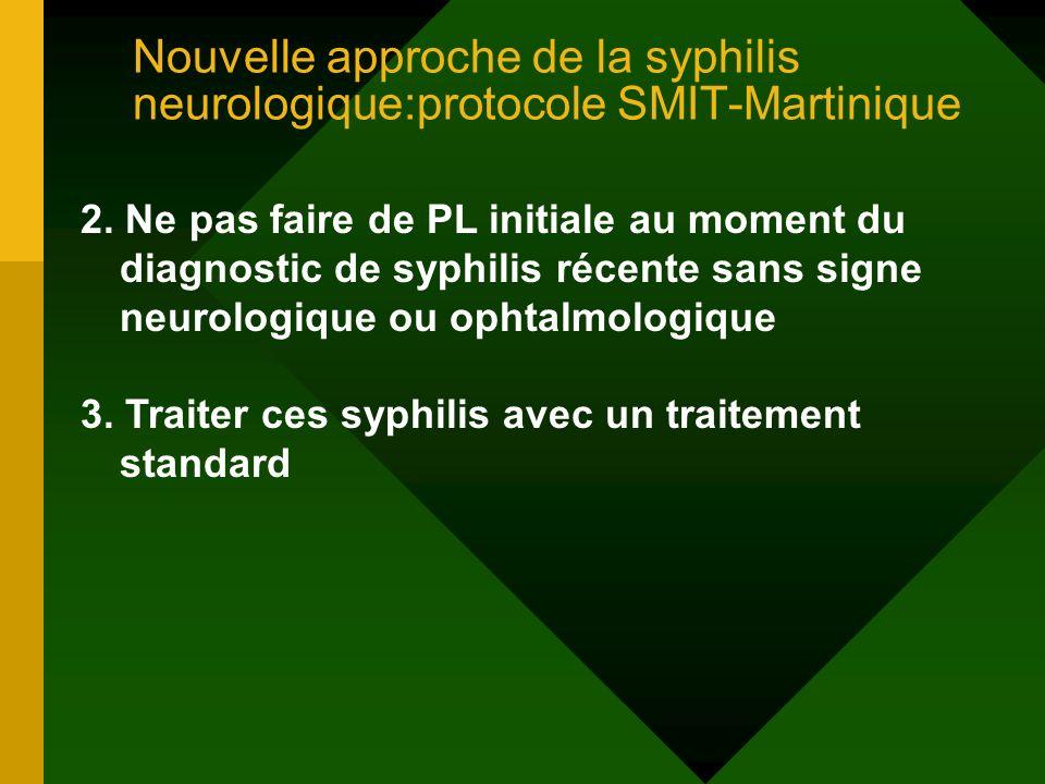 Nouvelle approche de la syphilis neurologique:protocole SMIT-Martinique 2. Ne pas faire de PL initiale au moment du diagnostic de syphilis récente san