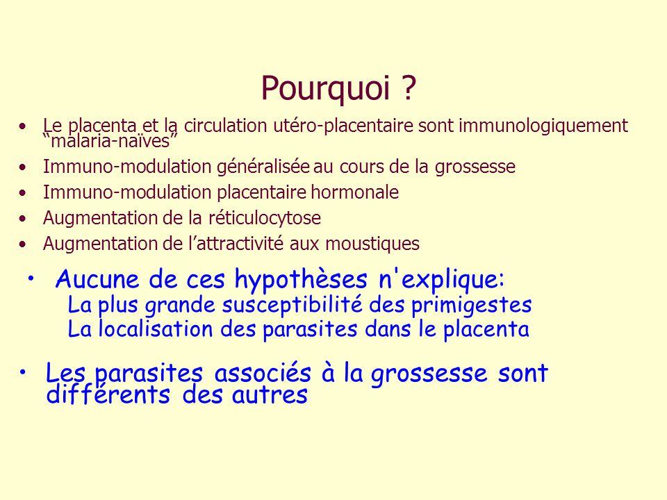 Pourquoi ? Le placenta et la circulation utéro-placentaire sont immunologiquement malaria-naïves Immuno-modulation généralisée au cours de la grossess