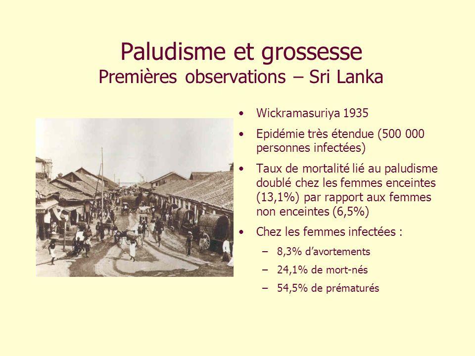 Paludisme et grossesse Premières observations – Sri Lanka Wickramasuriya 1935 Epidémie très étendue (500 000 personnes infectées) Taux de mortalité li