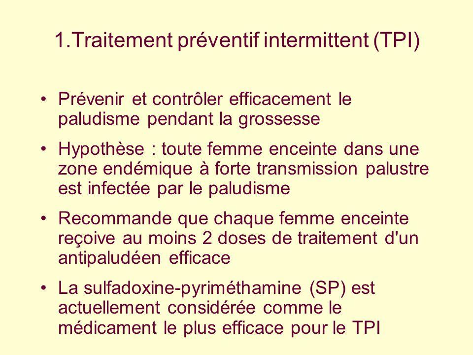 1.Traitement préventif intermittent (TPI) Prévenir et contrôler efficacement le paludisme pendant la grossesse Hypothèse : toute femme enceinte dans u