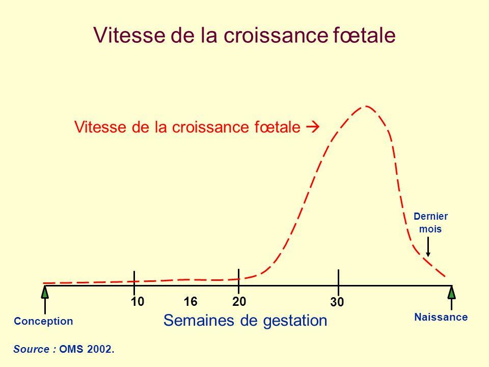 Conception Naissance 203010 Semaines de gestation 16 Vitesse de la croissance fœtale Source : OMS 2002. Dernier mois