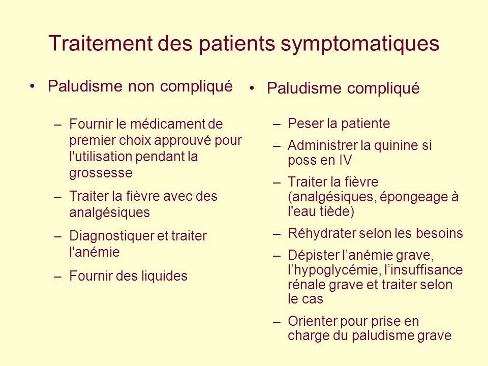 Traitement des patients symptomatiques Paludisme non compliqué –Fournir le médicament de premier choix approuvé pour l'utilisation pendant la grossess
