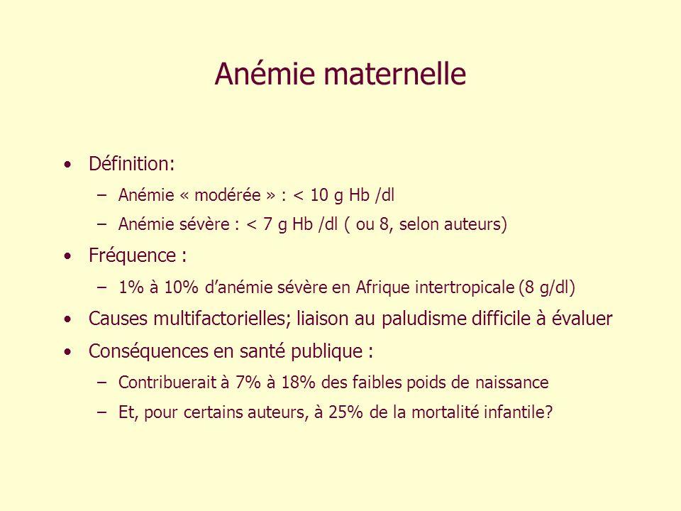 Anémie maternelle Définition: –Anémie « modérée » : < 10 g Hb /dl –Anémie sévère : < 7 g Hb /dl ( ou 8, selon auteurs) Fréquence : –1% à 10% danémie s