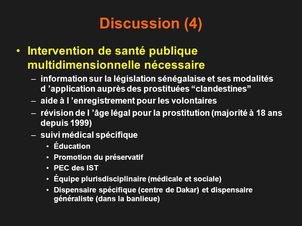 Discussion (4) Intervention de santé publique multidimensionnelle nécessaire –information sur la législation sénégalaise et ses modalités d applicatio