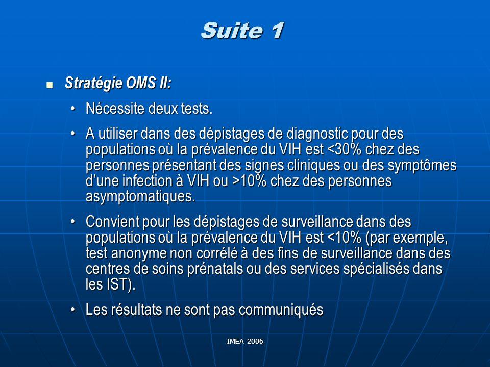 IMEA 2006 Suite 1 Stratégie OMS II: Stratégie OMS II: Nécessite deux tests.Nécessite deux tests. A utiliser dans des dépistages de diagnostic pour des