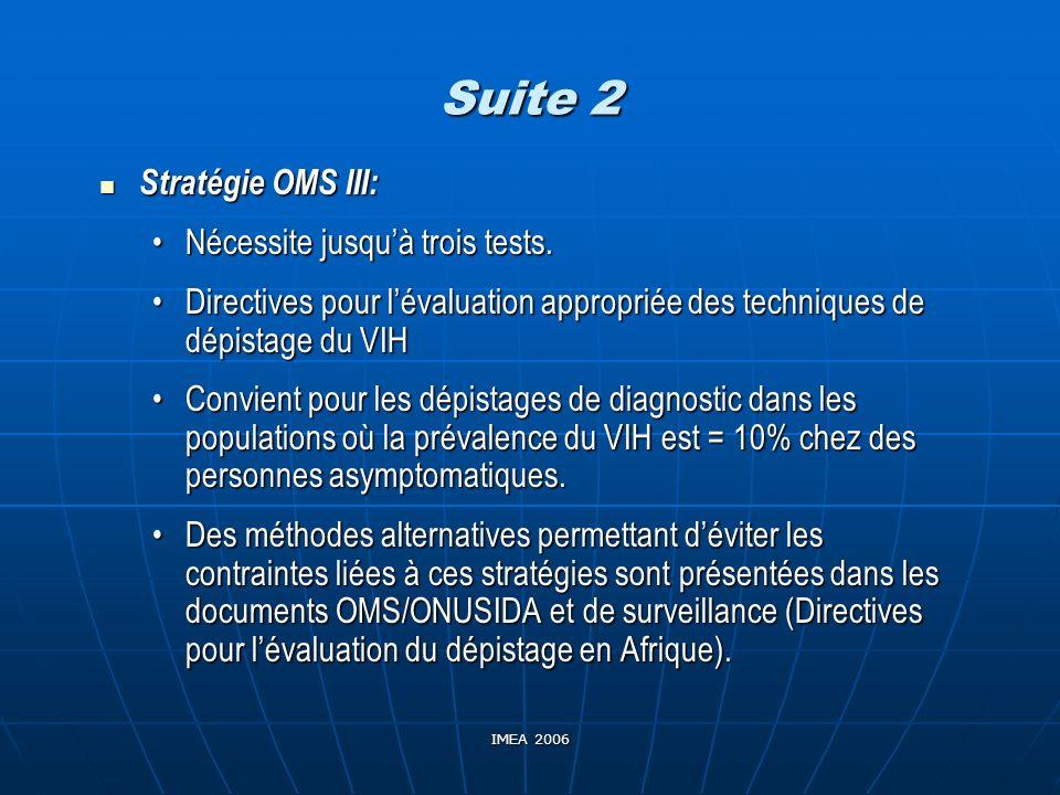 IMEA 2006 Suite 2 Stratégie OMS III: Stratégie OMS III: Nécessite jusquà trois tests.Nécessite jusquà trois tests. Directives pour lévaluation appropr