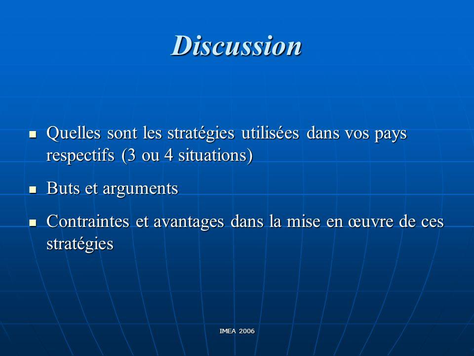Discussion Quelles sont les stratégies utilisées dans vos pays respectifs (3 ou 4 situations) Quelles sont les stratégies utilisées dans vos pays resp