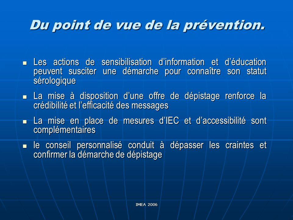 IMEA 2006 Du point de vue de la prévention. Les actions de sensibilisation dinformation et déducation peuvent susciter une démarche pour connaître son
