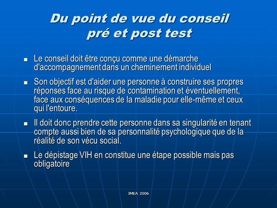 IMEA 2006 Du point de vue du conseil pré et post test Le conseil doit être conçu comme une démarche d'accompagnement dans un cheminement individuel Le
