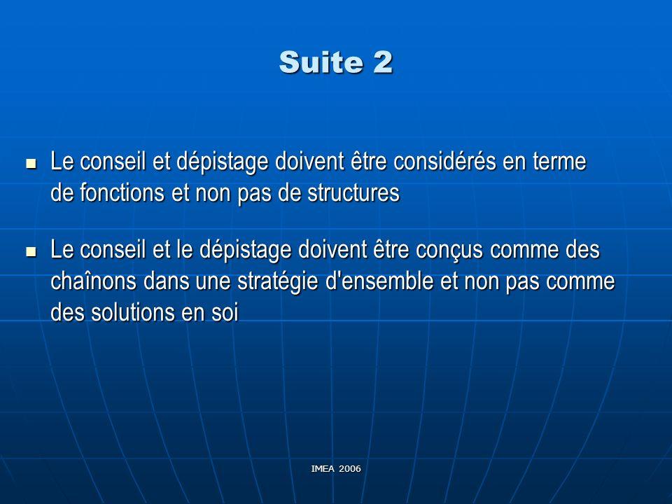 IMEA 2006 Suite 2 Le conseil et dépistage doivent être considérés en terme de fonctions et non pas de structures Le conseil et dépistage doivent être