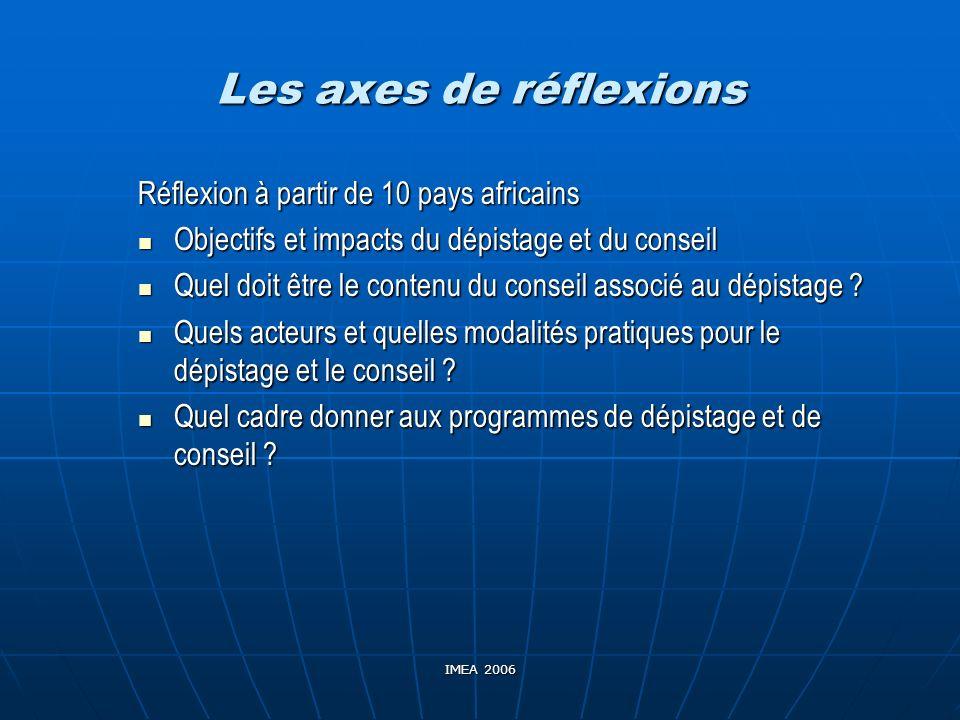 IMEA 2006 Les axes de réflexions Réflexion à partir de 10 pays africains Objectifs et impacts du dépistage et du conseil Objectifs et impacts du dépis
