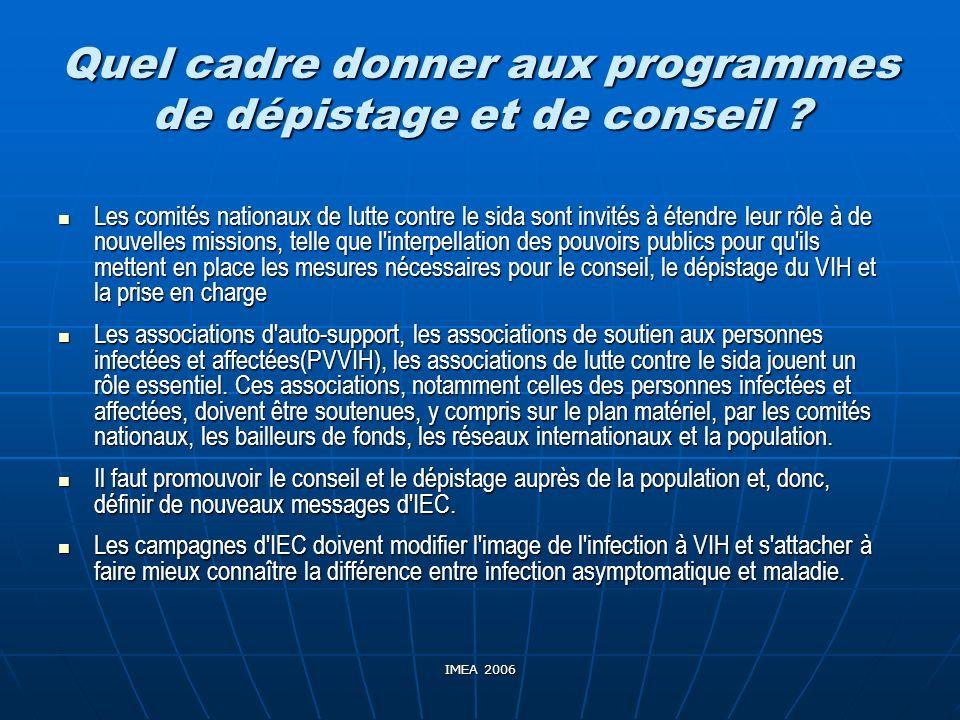 IMEA 2006 Quel cadre donner aux programmes de dépistage et de conseil ? Les comités nationaux de lutte contre le sida sont invités à étendre leur rôle
