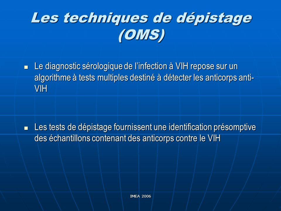 IMEA 2006 Les techniques de dépistage (OMS) Le diagnostic sérologique de linfection à VIH repose sur un algorithme à tests multiples destiné à détecte