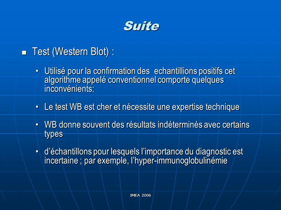 IMEA 2006 Suite Test (Western Blot) : Test (Western Blot) : Utilisé pour la confirmation des echantillions positifs cet algorithme appelé conventionne