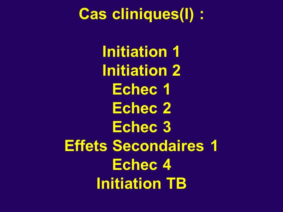 Cas cliniques(I) : Initiation 1 Initiation 2 Echec 1 Echec 2 Echec 3 Effets Secondaires 1 Echec 4 Initiation TB
