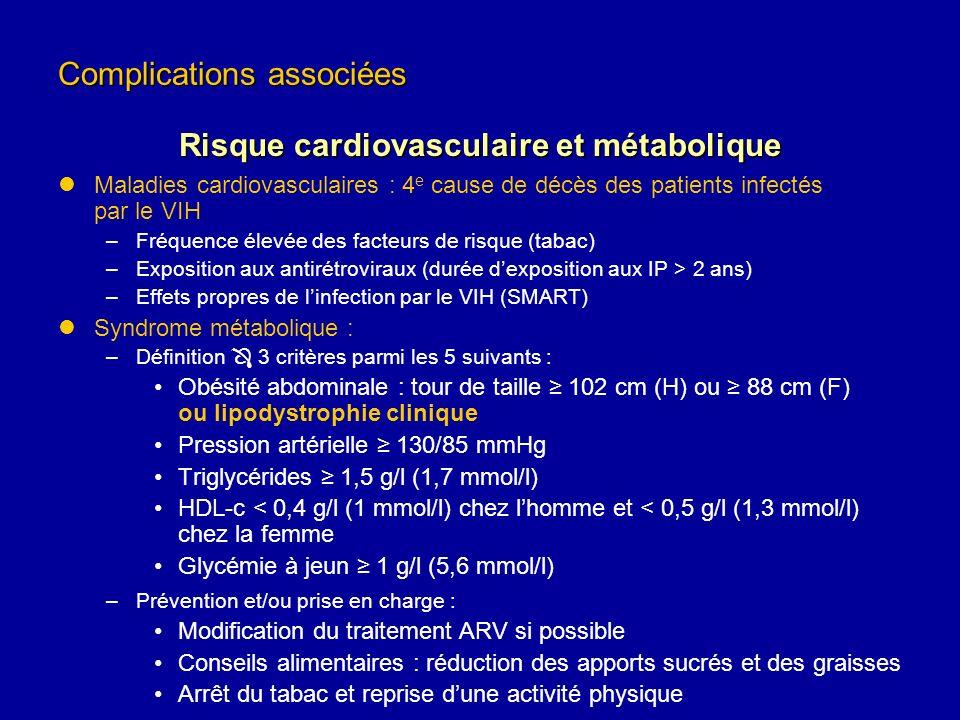 Maladies cardiovasculaires : 4 e cause de décès des patients infectés par le VIH –Fréquence élevée des facteurs de risque (tabac) –Exposition aux anti