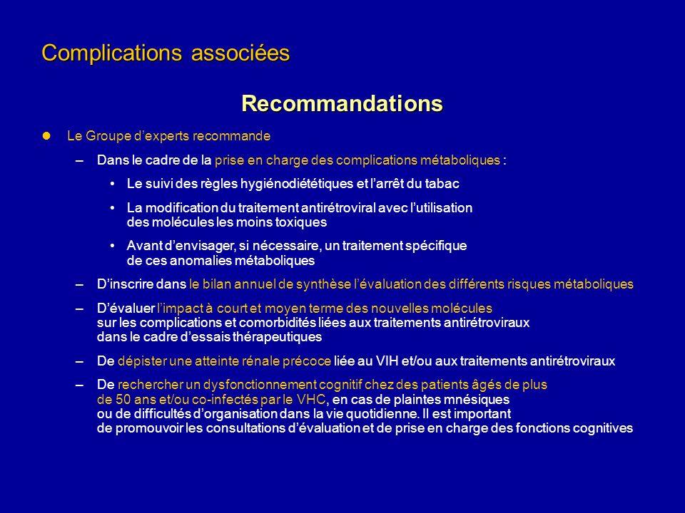 Complications associées Recommandations Le Groupe dexperts recommande –Dans le cadre de la prise en charge des complications métaboliques : Le suivi d