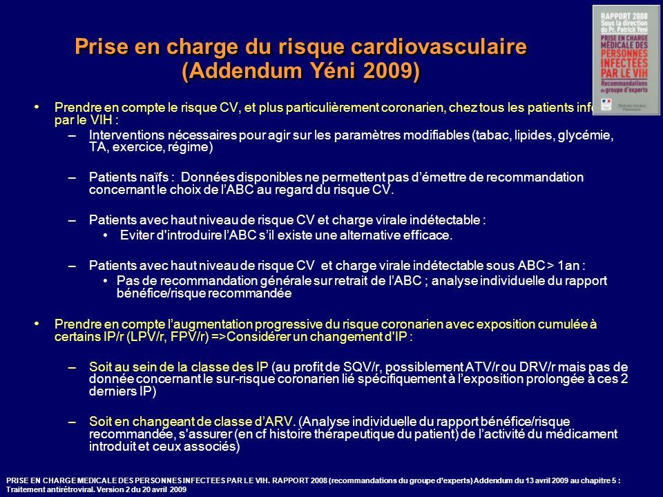 Prise en charge du risque cardiovasculaire (Addendum Yéni 2009) Prendre en compte le risque CV, et plus particulièrement coronarien, chez tous les pat