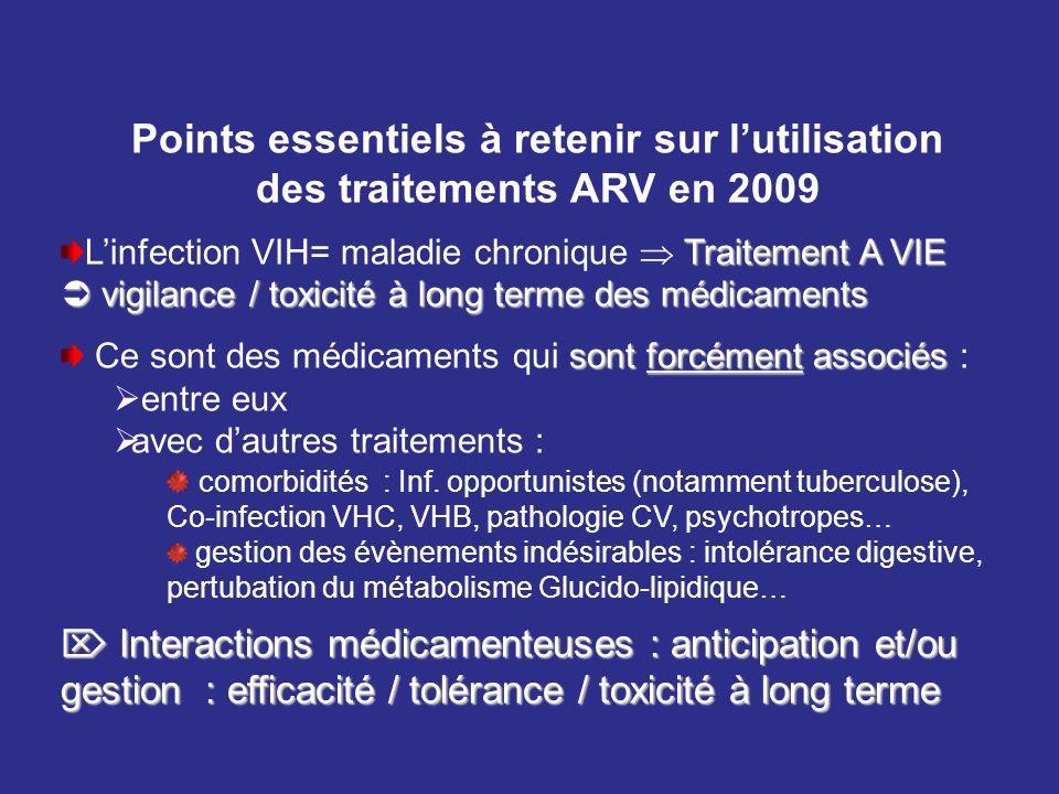 Points essentiels à retenir sur lutilisation des traitements ARV en 2009 Traitement A VIE vigilance / toxicité à long terme des médicaments Linfection