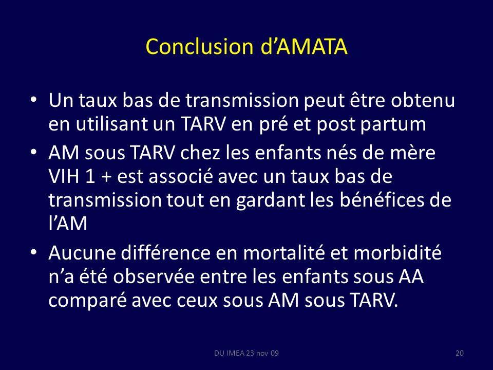 Conclusion dAMATA Un taux bas de transmission peut être obtenu en utilisant un TARV en pré et post partum AM sous TARV chez les enfants nés de mère VIH 1 + est associé avec un taux bas de transmission tout en gardant les bénéfices de lAM Aucune différence en mortalité et morbidité na été observée entre les enfants sous AA comparé avec ceux sous AM sous TARV.