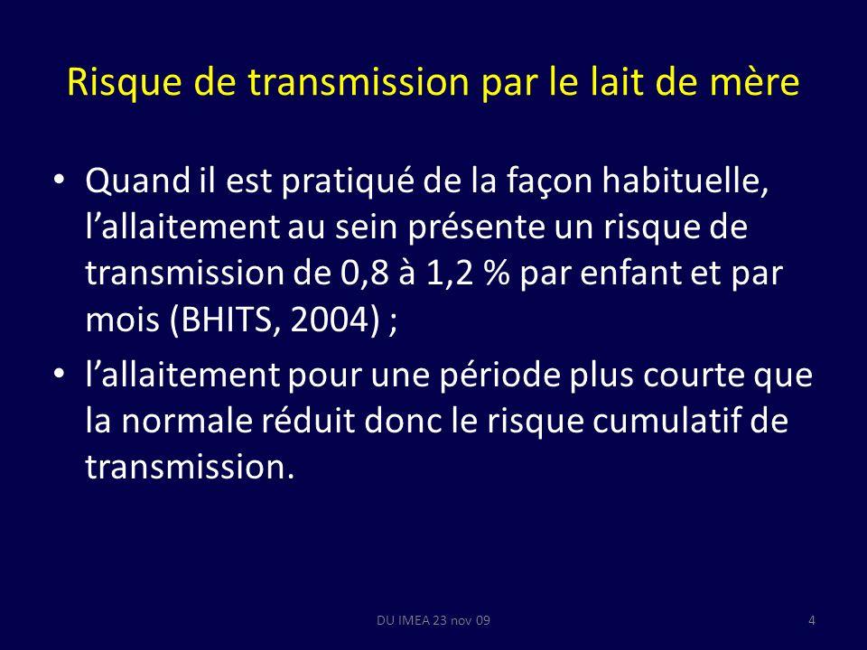 Risque de transmission par le lait de mère Quand il est pratiqué de la façon habituelle, lallaitement au sein présente un risque de transmission de 0,8 à 1,2 % par enfant et par mois (BHITS, 2004) ; lallaitement pour une période plus courte que la normale réduit donc le risque cumulatif de transmission.
