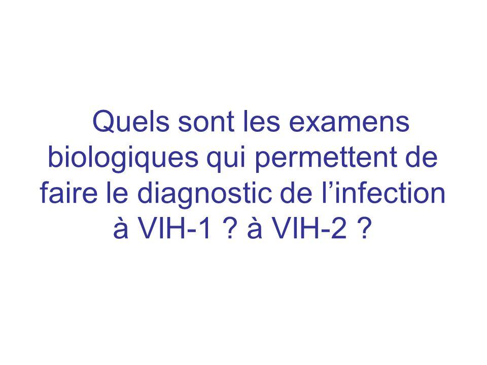 Quels sont les examens biologiques qui permettent de faire le diagnostic de linfection à VIH-1 ? à VIH-2 ?