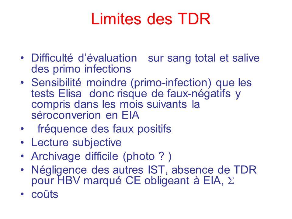 Limites des TDR Difficulté dévaluation sur sang total et salive des primo infections Sensibilité moindre (primo-infection) que les tests Elisa donc ri