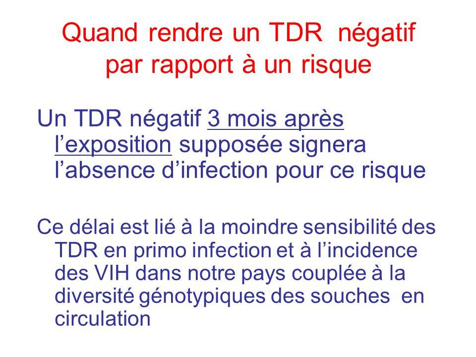 Un TDR négatif 3 mois après lexposition supposée signera labsence dinfection pour ce risque Ce délai est lié à la moindre sensibilité des TDR en primo