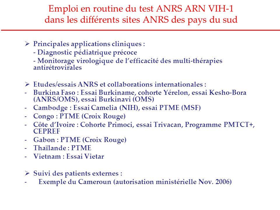 Emploi en routine du test ANRS ARN VIH-1 dans les différents sites ANRS des pays du sud Principales applications cliniques : - Diagnostic pédiatrique
