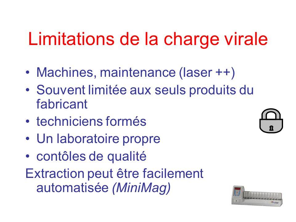 Limitations de la charge virale Machines, maintenance (laser ++) Souvent limitée aux seuls produits du fabricant techniciens formés Un laboratoire pro
