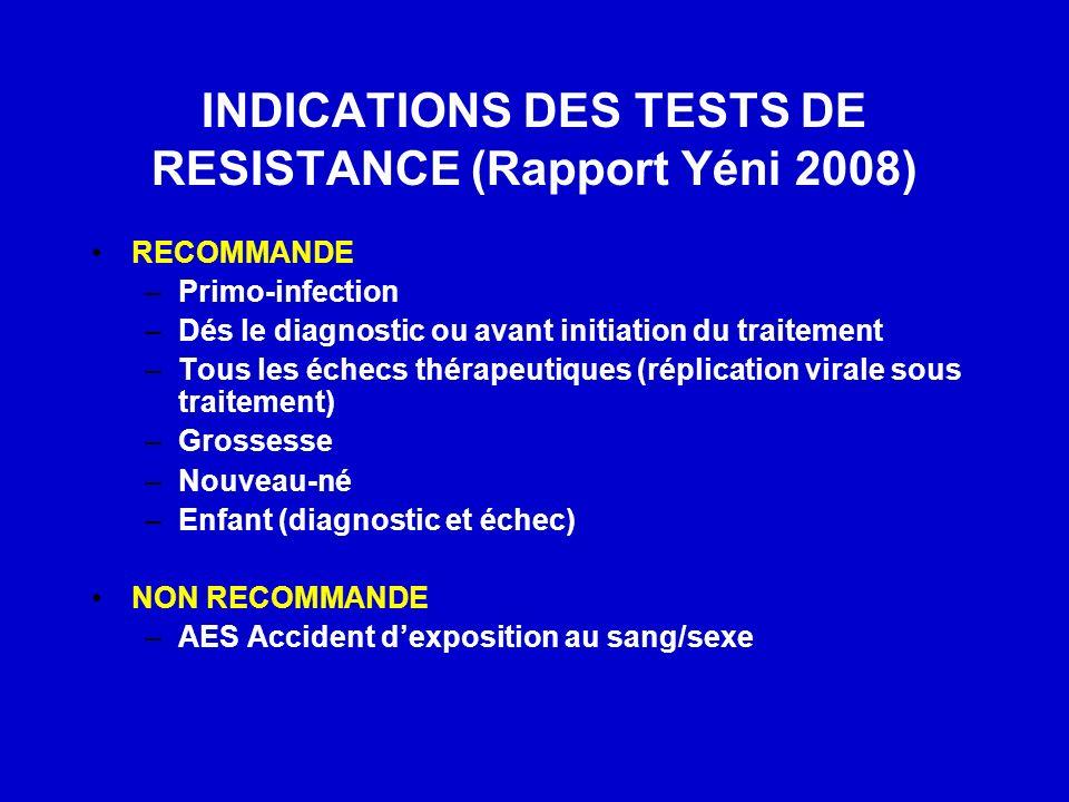 INDICATIONS DES TESTS DE RESISTANCE (Rapport Yéni 2008) RECOMMANDE –Primo-infection –Dés le diagnostic ou avant initiation du traitement –Tous les éch