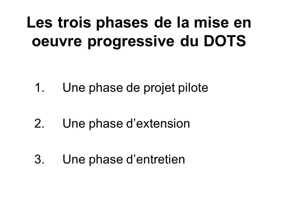 Les trois phases de la mise en oeuvre progressive du DOTS 1.Une phase de projet pilote 2.Une phase dextension 3.Une phase dentretien
