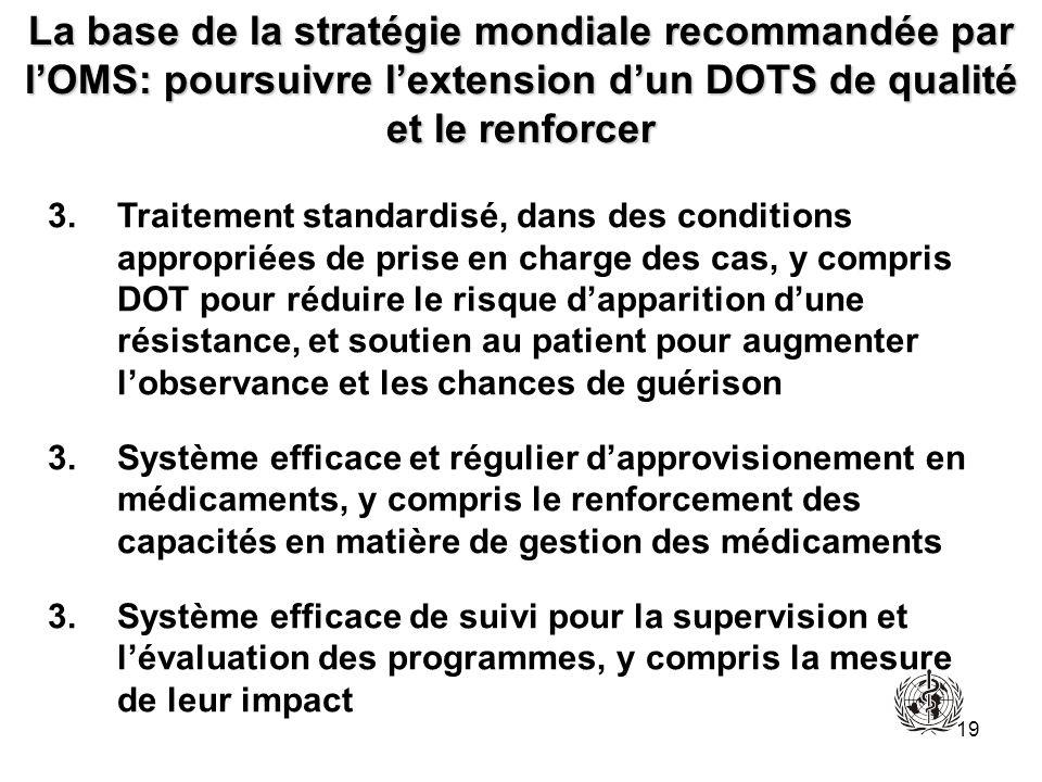 19 La base de la stratégie mondiale recommandée par lOMS: poursuivre lextension dun DOTS de qualité et le renforcer 3.Traitement standardisé, dans des