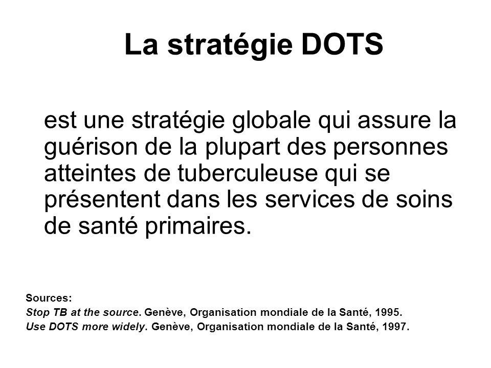 La stratégie DOTS est une stratégie globale qui assure la guérison de la plupart des personnes atteintes de tuberculeuse qui se présentent dans les se