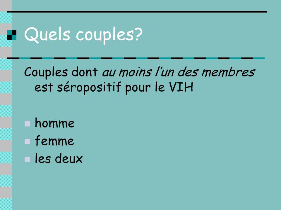 Quels couples? Couples dont au moins lun des membres est séropositif pour le VIH homme femme les deux