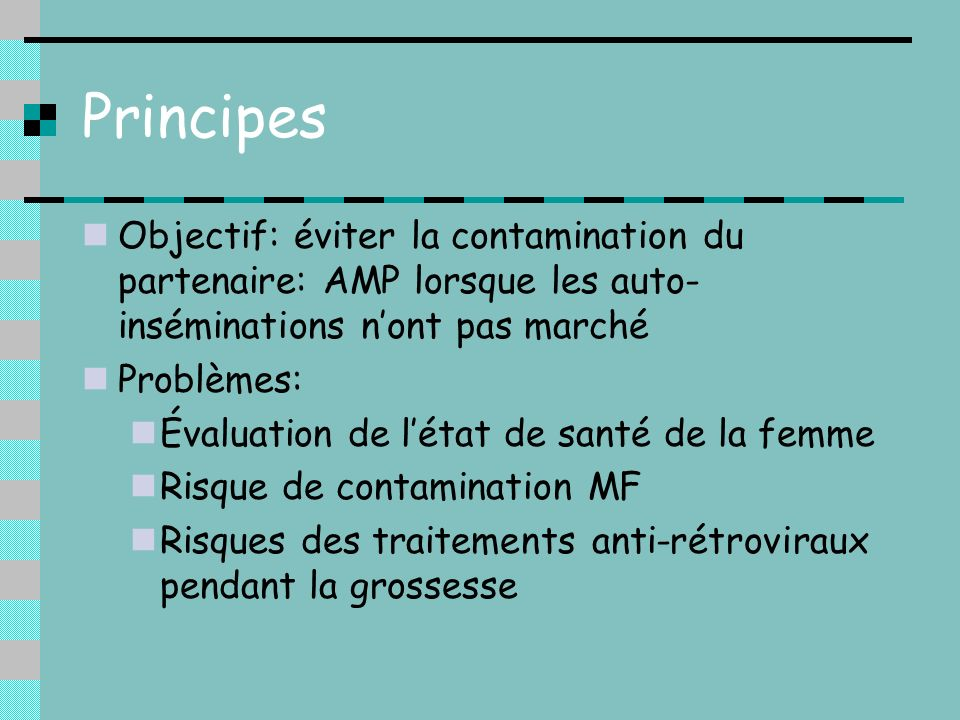 Évaluation de létat de santé de la femme Prise en charge collective: infectiologues, virologues, psychologues, obstétriciens, pédiatres Évaluation des co-infections VHC et VHB CD4 et charge virale plasmatique Anamnèse thérapeutique Possibilité de fenêtre thérapeutique aux 1er et 2ème trimestres de grossesse ??