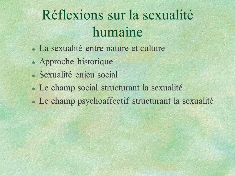 Réflexions sur la sexualité humaine l La sexualité entre nature et culture l Approche historique l Sexualité enjeu social l Le champ social structuran