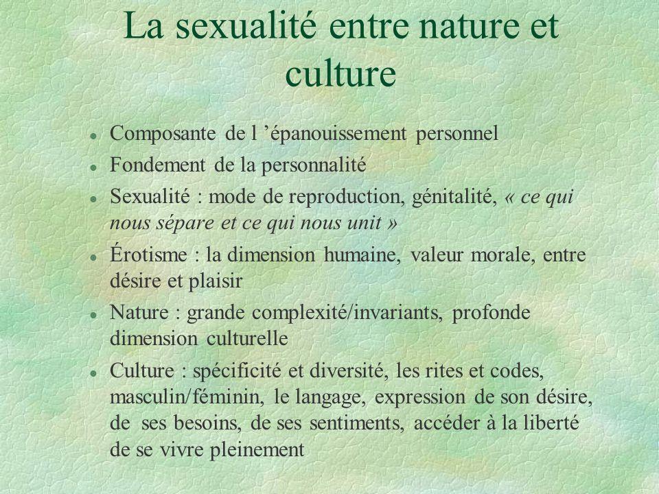 La sexualité entre nature et culture l Composante de l épanouissement personnel l Fondement de la personnalité l Sexualité : mode de reproduction, gén