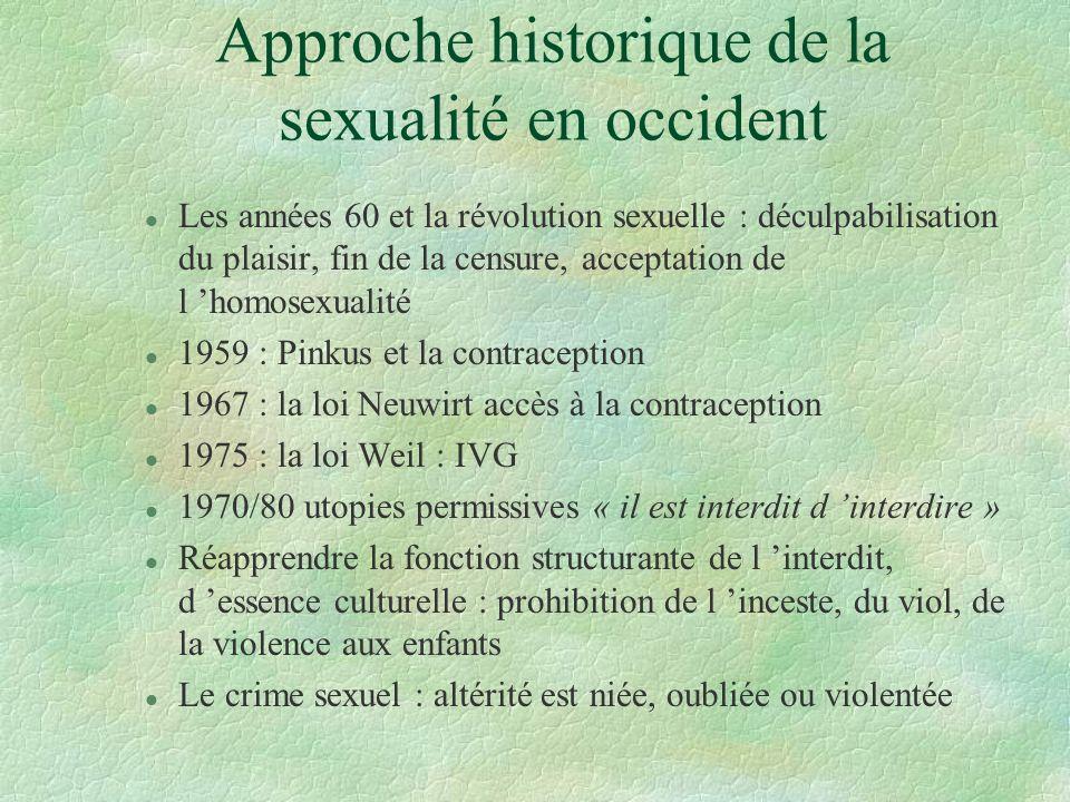 Approche historique de la sexualité en occident l Les années 60 et la révolution sexuelle : déculpabilisation du plaisir, fin de la censure, acceptati